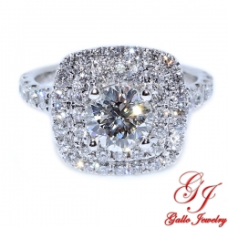 ENG01237. Double Halo Cushion Shape Diamond Engagement Ring (Center Diamond Included)