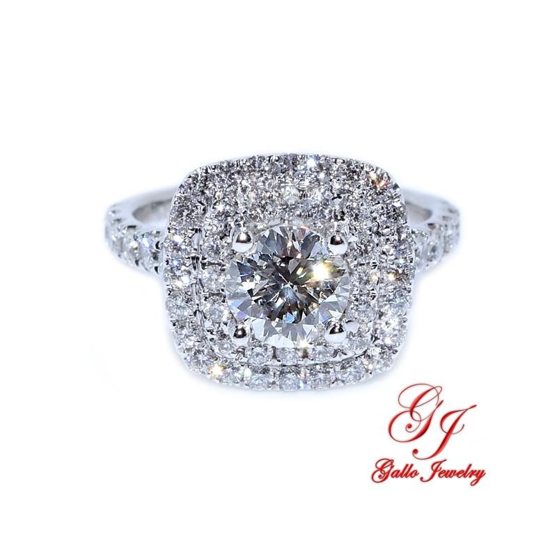 ENG01237. Double Halo Cushion Shape Diamond Engagement Ring (Center Diamond Included)