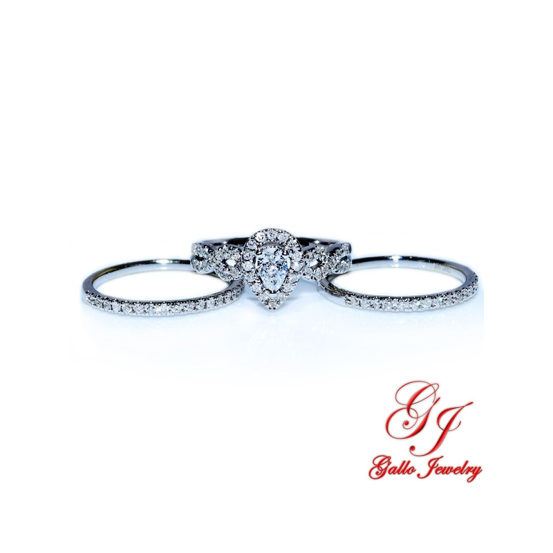 Pear Shape Diamond Halo Bridal Set Center Two Wedding Bands Included