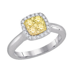 87748. Cluster Yellow Diamond Solitaire Halo Engagement Ring
