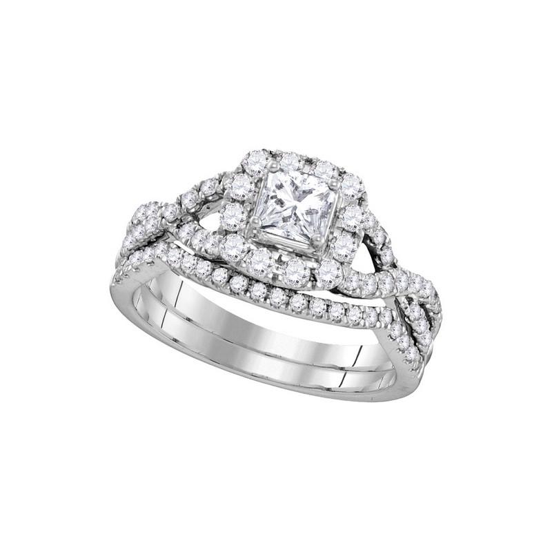 106343 Prong Halo Diamond Bridal Set Center Princess Cut