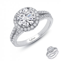 R2019CLP05. LaFonn Round Halo with Split Shank Engagement Ring