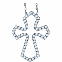 52885. 925 Silver Crystal Cross Pendant