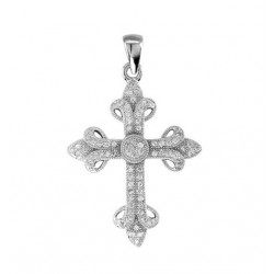 42225. 925 Silver Crystal Cross Pendant