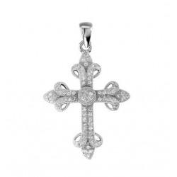 42225. 925 Silver Crystal Cross Pendant