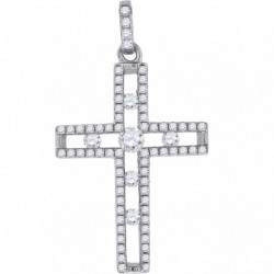 57182. 925 Silver Crystal Cross Pendant