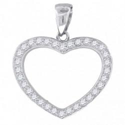 BP044. 925 Silver Crystal Heart Pendant