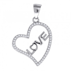 64601. 925 Silver Crystal Heart-Love Pendant