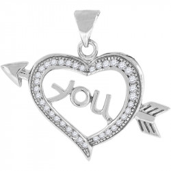 42208. 925 Silver Crystal Heart Pendant