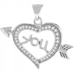 42208. 925 Silver Crystal Heart Pendant