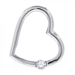 57231. 925 Silver Crystal Heart Pendant