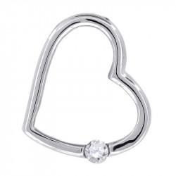 57231. 925 Silver Crystal Heart Pendant