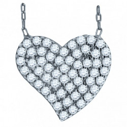 52873. 925 Silver Crystal Heart Pendant