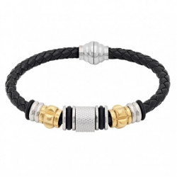 54646. Men's Stainless Steel & Faux Leather Bracelet