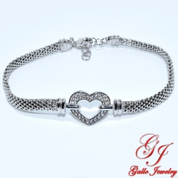 S0179.W. Sterling Silver Heart Bracelet with Popcorn Chain