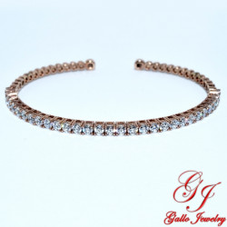 S0273. Sterling Silver Rose Gold Plated Crystal Cuff Bracelet