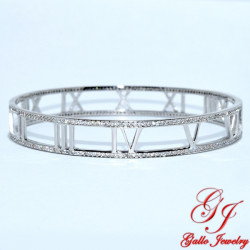 S0275. Sterling Silver Roman Numeral Bangle with Crystals