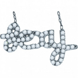 "52878. Sterling Silver ""Hey"" Crystal Pendant"