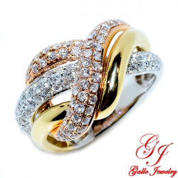 98681. Tri-color Gold Ladies Diamond Ring