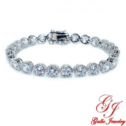 S0259. Sterling Silver White Gold Plated Bezel Tennis Bracelet