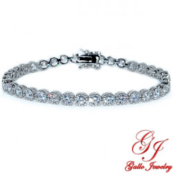 S0258. Sterling Silver White Gold Plated Bezel Tennis Bracelet