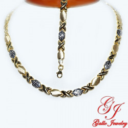 S0248AB. Yellow Gold Plated Sterling Silver Necklace And Bracelet Set