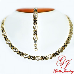 S0249AB. Yellow Gold Plated Sterling Silver Necklace And Bracelet Set
