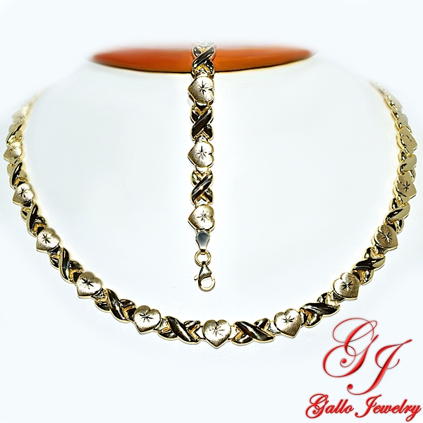 Yellow Gold Plated Sterling Silver Necklace And Bracelet Set