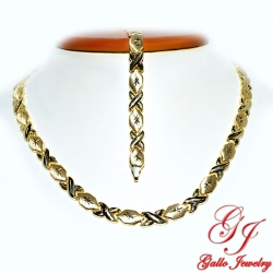 S0247AB. Yellow Gold Plated Sterling Silver Necklace And Bracelet Set