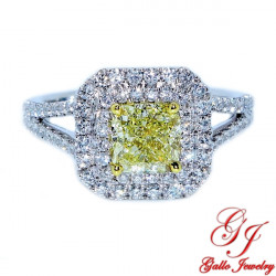 ENG01403. Yellow Cushion Shape Diamond Engagement Ring
