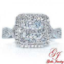 114204. Cushion Halo Cluster Engagement Ring