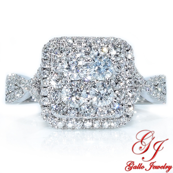 114204 Cushion Halo Cluster Engagement Ring