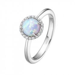 BR001OPP05. Lafonn Opal Birthstone Halo Ring