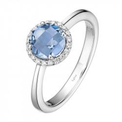 BR001BTP05. Lafonn Blue Topaz Birthstone Halo Ring