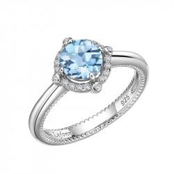 BR002BTP05. Lafonn Blue Topaz Birthstone Halo Ring
