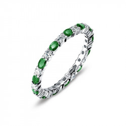 BR003EMP05. Lafonn Emerald Birthstone Eternity Ring