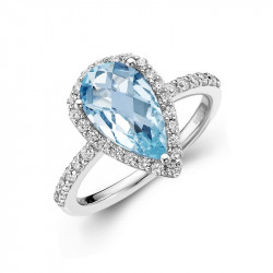 GR001BTP05. Lafonn Aria Pear-shaped Checkerboard-cut Blue Topaz Halo Ring
