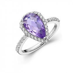GR001AMP05. Lafonn Aria Pear-shaped Checkerboard-cut Amethyst Halo Ring