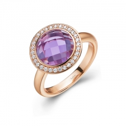 GR009AMR05. Lafonn Aria Rose Gold Round Checkerboard-cut Amethyst Halo Ring