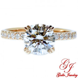 ENG01798. 1.50ct Forever One Moissanite and Diamond Under-Halo Rose Gold Engagement Ring