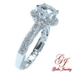 ENG01401. Antique Style Diamond Halo Engagement Ring (Center Stone Sold Separately)