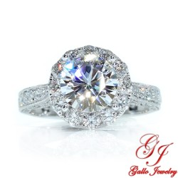 ENG01401. 1.50ct Forever One Moissanite in An Antique Style Diamond Halo Engagement Ring