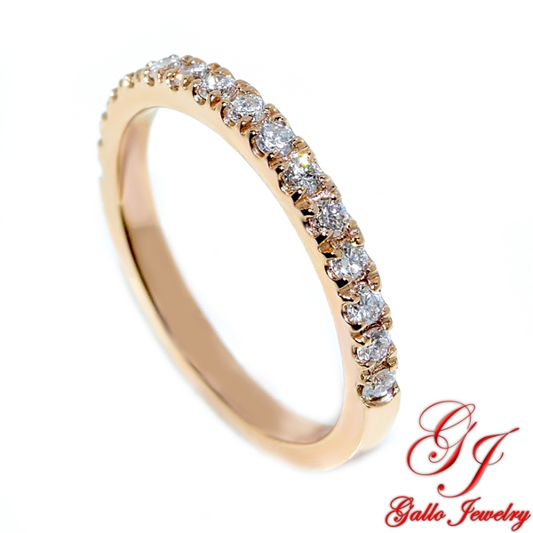 Rose Gold Thin Diamond Wedding Band