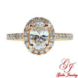 ENG01819. Rose Gold Oval Diamond Halo Engagement Ring (Center Stone Sold Separately)