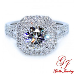 ENG01155. Cushion Double Halo Diamond Engagement Ring (Center Diamond Sold Separately)