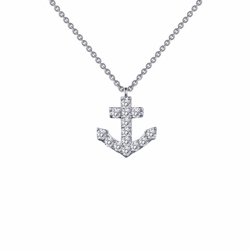 N0024clp18 lafonn simulated diamond anchor pendant with chain aloadofball Gallery