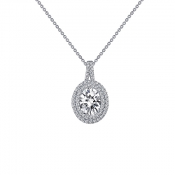 P0163CLP18. Lafonn Simulated Diamond Oval Halo Pendant Necklace