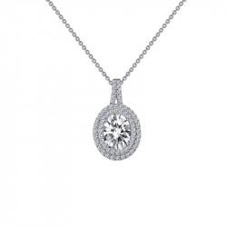 P0163CLP18. Lafonn Simulated Diamond Oval Halo Pendant Necklace