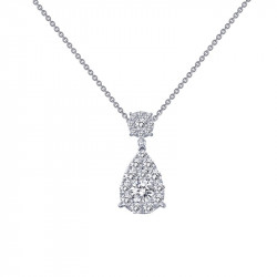 P0145CLP18. Lafonn Simulated Diamond Cluster Fancy Pendant wtih Chain
