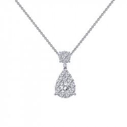 P0145CLP18. Lafonn Simulated Diamond Cluster Fancy Pendant wtih Chain